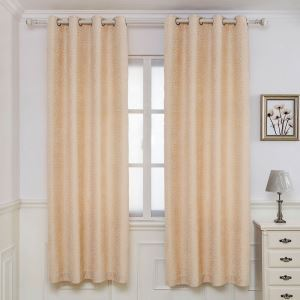 American Modern Chenille Curtain Yellow Circle Jacquard Curtain Blackout Fabric(One Panel)