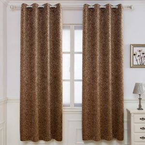 American Antique Jacquard Curtain Chenille Coffee Branch Curtain Thickened Blackout Fabric(One Panel)