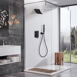 Bathroom Shower Faucet Set Baking Varnish Black Set with Tub Faucet and Hand Shower