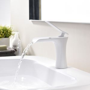 Centerset Bathroom Faucet Single Hole Single Handle Baking Varnish White Hot and Cold Water Dispenser