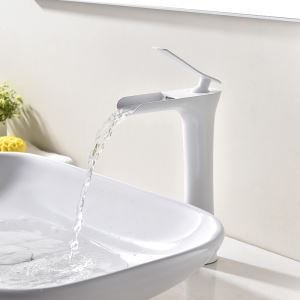 Vessel Bathroom Faucet Deck Mount Single Hole Single Handle Baking Varnish White Hot and Cold Water Dispenser Tall