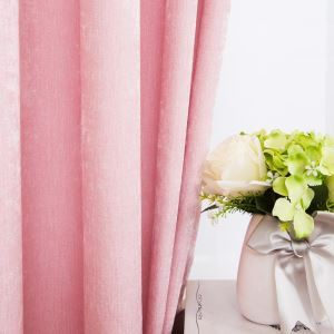 Countryside Pastoral Style Curtain Chenille Solid Pink Curtain Ultraviolet-proof Semi Blackout Fabric(One Panel)