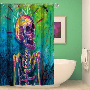 Halloween Weird Shower Curtain Skull Design Shower Curtain Waterproof Mouldproof Bathroom Curtain(One Panel)