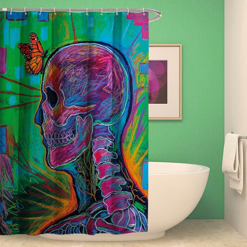 Halloween Weird Shower Curtain Skull Design Waterproof Mouldproof Bathroom CurtainOne Panel
