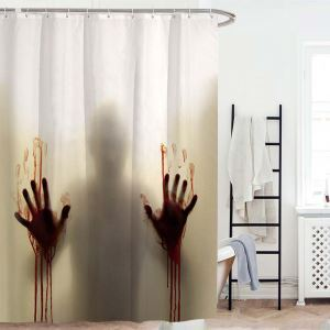 Wterproof Mouldproof Shower Curtain Halloween Horror Blood Handprint Shower Curtain(One Panel)