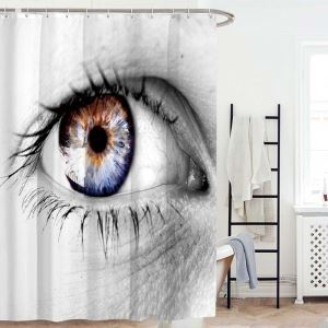Creative Original Shower Curtain Unique Eyes Printed Shower Curtain Waterproof Mouldproof Bathroom Curtain(One Panel)