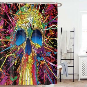 Personalized Creative Shower Curtain Skull Design Shower Curtain Waterproof Mouldproof Bathroom Curtain(One Panel)