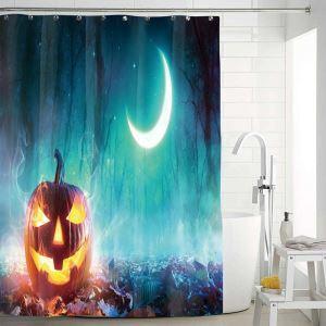 Creative Pumpkin Printed Shower Curtain Halloween Weird Shower Curtain Waterproof Mouldproof Bathroom Curtain(One Panel)