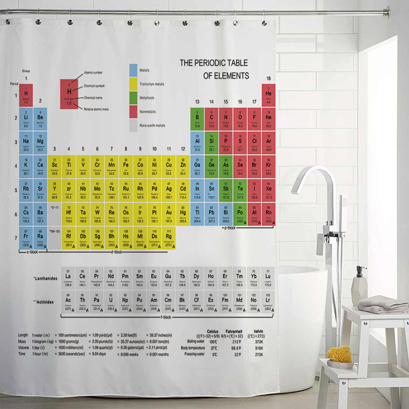 Fabulous Creative Original Shower Curtain Element Periodic Table Shower Curtain Waterproof Mouldproof Bathroom Fabric One Panel Beutiful Home Inspiration Truamahrainfo