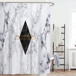 Personalized Geometric Shower Curtain European Marble Texture Shower Curtain Insulated Waterproof Bathroom Curtain(One Panel)