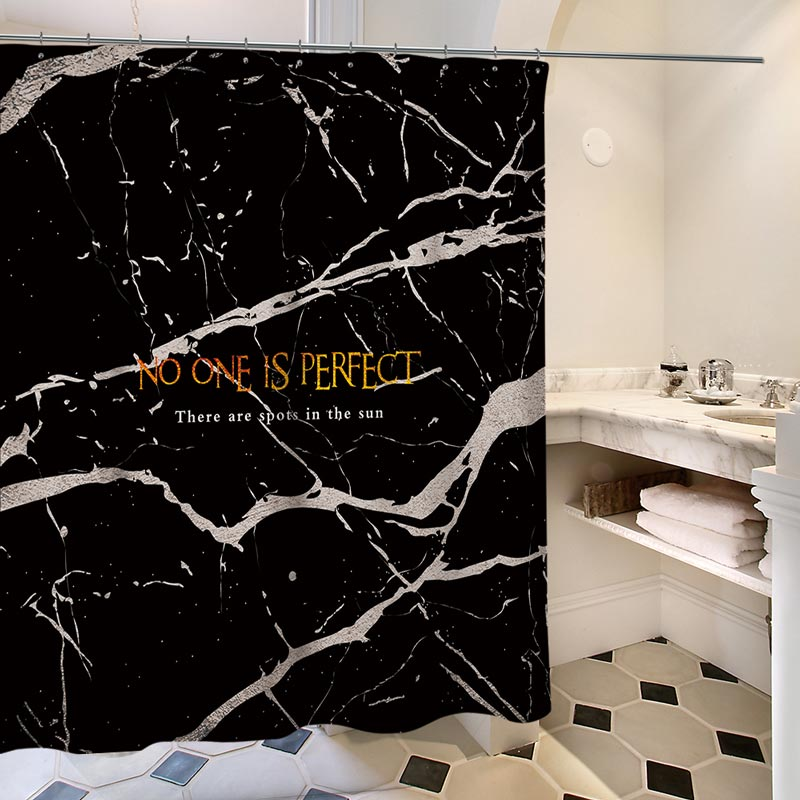 Personalized Geometric Shower Curtain European Marble Texture Insulated Waterproof Bathroom CurtainOne Panel