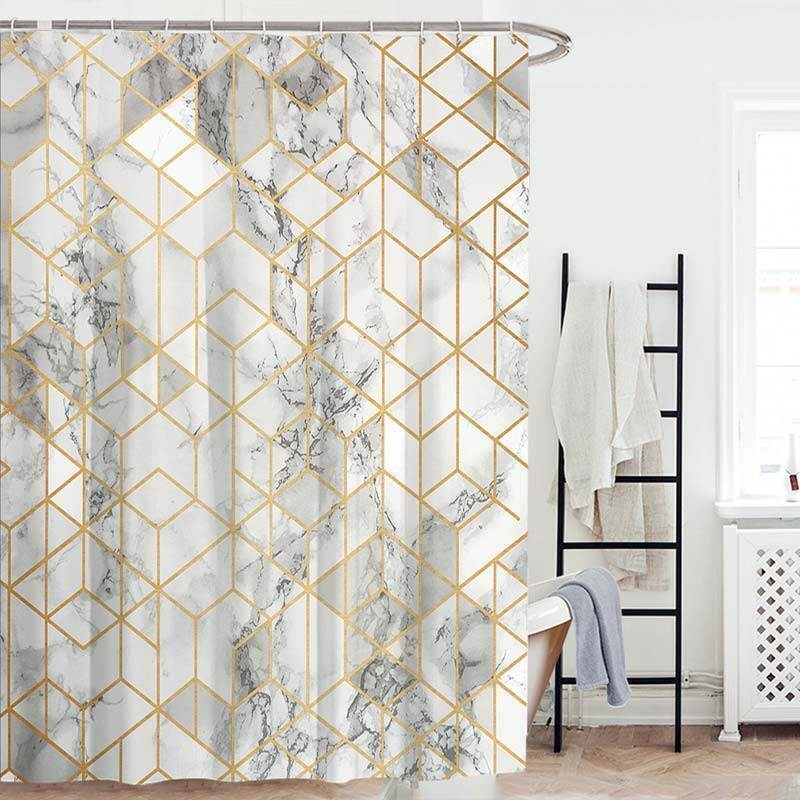 Personalized Geometric Shower Curtain European Marble Texture Insulated Waterproof Bathroom CurtainOne Panel