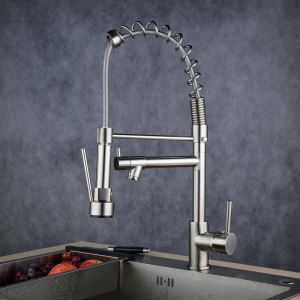 Contemporary Sprayer Kitchen Faucet Brushed Single Handle Faucet BL0783SN