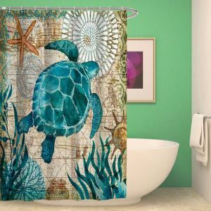 Polyester Waterproof Shower Curtain Seahorse Turtle Bathroom Curtain(One Panel)