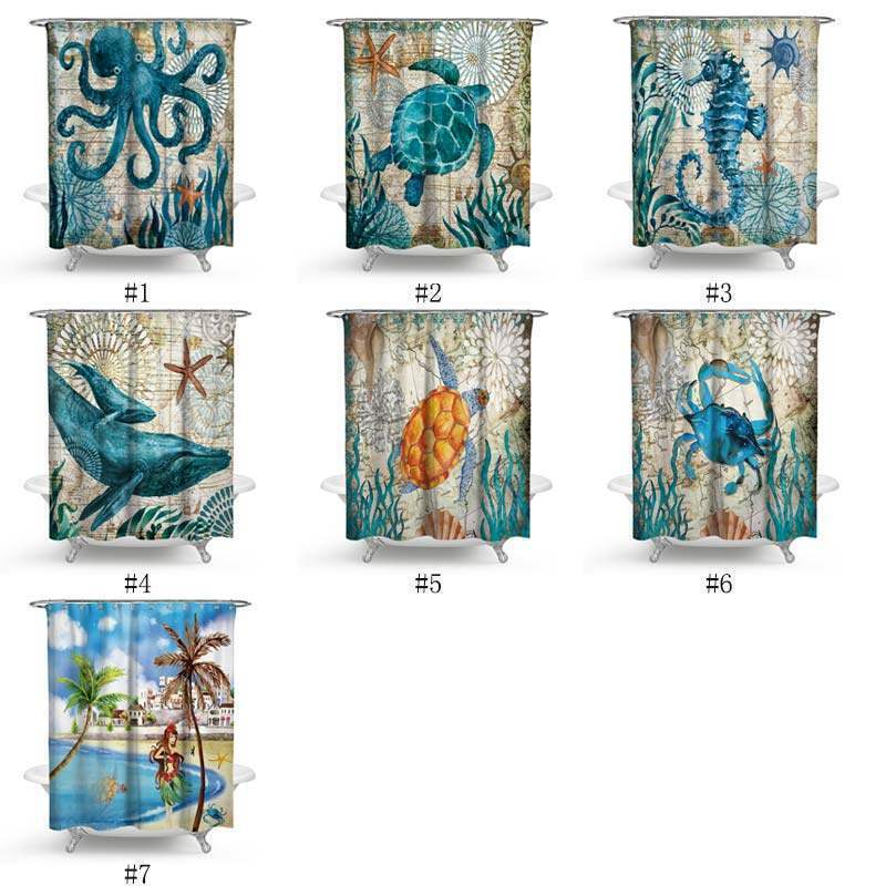 Polyester Waterproof Shower Curtain Seahorse Turtle Bathroom Curtain One Panel