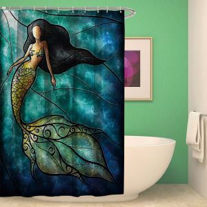 Gorgeous Shower Curtain Mermaid Printed Shower Curtain Waterproof Mouldproof Bathroom Curtain(One Panel)
