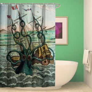 Cartton Cuttlefish Shower Curtain Waterproof Polyester Fabric(One Panel)
