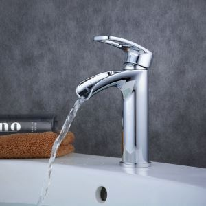 Contemporary Sink Faucet Chrome Polished Sink Faucet Single Handle Bathroom Tap BL6080