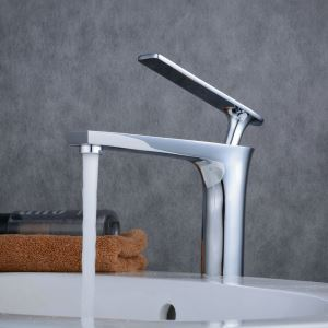 Contemporary Sink Faucet Chrome Polished Sink Faucet Single Handle Bathroom Tap BL6307