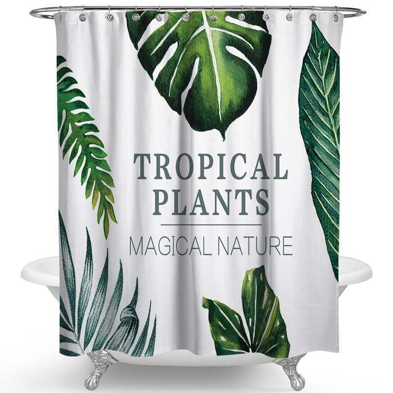 Modern Simple Shower Curtain Banana Leaves Printed Polyester Fabric Img 4