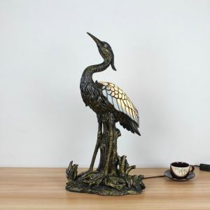 Animal Lamp Animal Style White Crane Tiffany Table Lamp