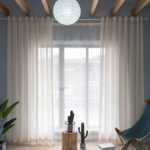 Japanese Versatile Sheer Curtain Stripes Jacquard Sheer Curtain Living Room Study Fabric(One Panel)