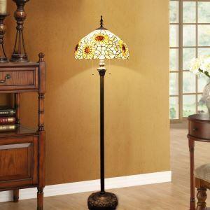 Tiffany Floor Lamp Handmade Sunflowers Stained Glass Shade Standard Lamp Living Room Study