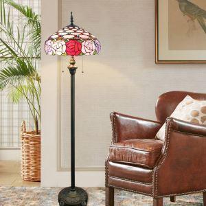 Tiffany Floor Lamp Handmade Stained Glass Shade Standard Lamp Roses Design