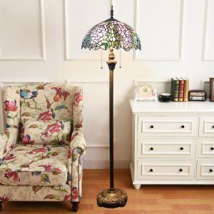 Tiffany Floor Lamp Handmade Stained Glass Shade Standard Lamp Leaf Design