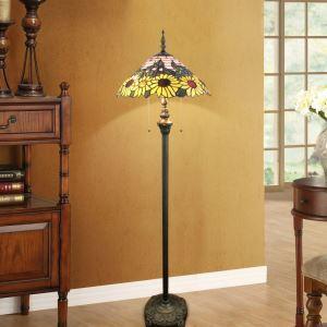 Tiffany Floor Lamp Handmade Stained Glass Shade Standard Lamp Sunflowers Design