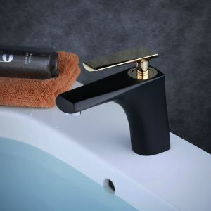Contemporary Sink Faucet Stoving Varnish Black Sink Faucet Single Golden Handle Faucet