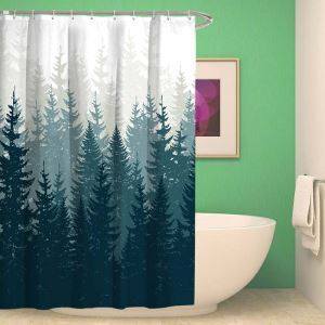 Waterproof Mouldproof Shower Curtain Modern Simple Shower Curtain Tree Shadow Printed Bath Curtain