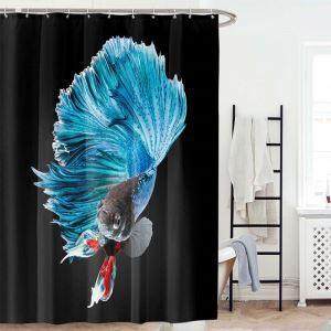 Waterproof Mouldproof Shower Curtain Lifelike 3D Goldfish Digital Printed Bath Curtain