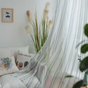 Nordic Simple Sheer Curtain Contrast Stripes Jacquard Sheer Curtain Living Room Bedroom Fabric(One Panel)