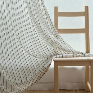 Japanese Style Sheer Curtain Simple Stripes Jacquard Sheer Curtain Environment Protective Flax Fabric(One Panel)
