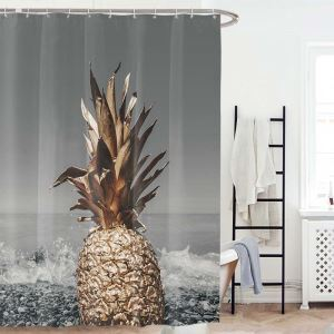 Waterproof Mouldproof Shower Curtain Creative Weird Pineapple Printed Bath Curtain