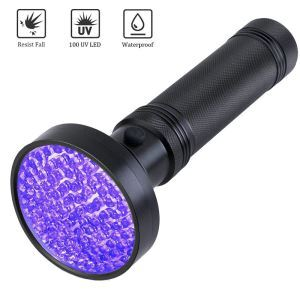 Pet Urine Detection Lamp 100 LED Flashlight UV Fluorescer Testing Flashlight