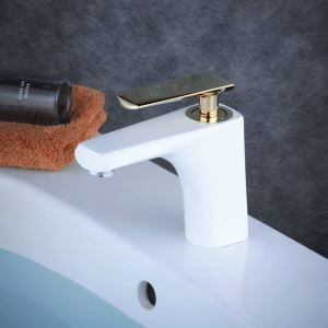 Contemporary Sink Faucet Stoving Varnish White Sink Faucet Single Gloden Handle Faucet
