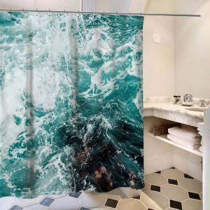Creative Waterproof Shower Curtain Wonderful Wave Printed Bath Curtain