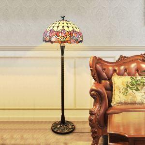 Tiffany Floor Lamp Handmade Stained Glass Shade Elegant Flower Standard Lamp