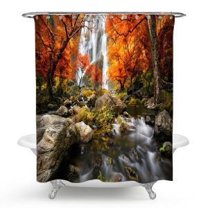 Mouldproof Shower Curtain Lifelike 3D Scenery Printed Bath Curtain
