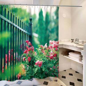 Waterproof Shower Curtain Aesthetical Rural 3D Lifelike Flower Plants Printed Bath Curtain