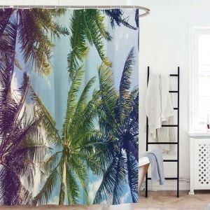 3D Digital Printed Shower Curtain Wonderful Coconut Tree Printed Bath Curtain