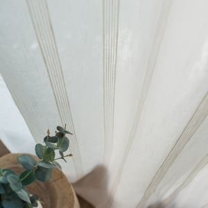 Nordic Simple Sheer Curtain White Stripes Jacquard Sheer Curtain Versatile Fabric(One Panel)