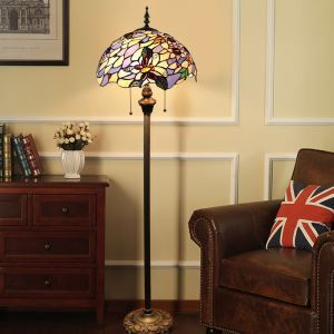 Tiffany Floor Lamp Handmade Stained Glass Shade Standard Lamp Flowers and Butterfly Design