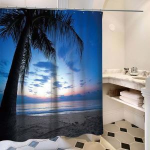 Polyester Waterproof Shower Curtain Modern 3D Lifelike Coconut Tree Printed Bath Curtain
