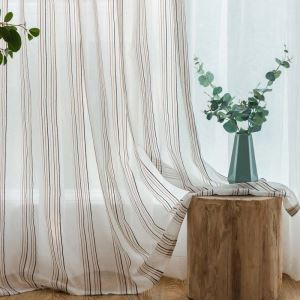 Korean Aesthetical Sheer Curtain Jacquard Bedroom Sheer Curtain Contrast Stripes Fabric(One Panel)