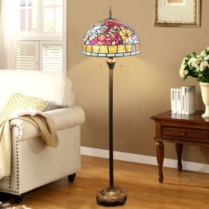 Tiffany Floor Lamp Handmade Stained Glass Shade Standard Lamp Flowers and Dragonfly Design