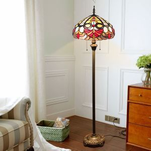 Tiffany Floor Lamp Handmade Stained Glass Shade Standard Lamp Study Room Bedroom