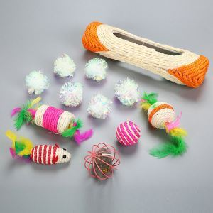 Cat Toy Set Sisal Roller Paper Ball Toy Ball